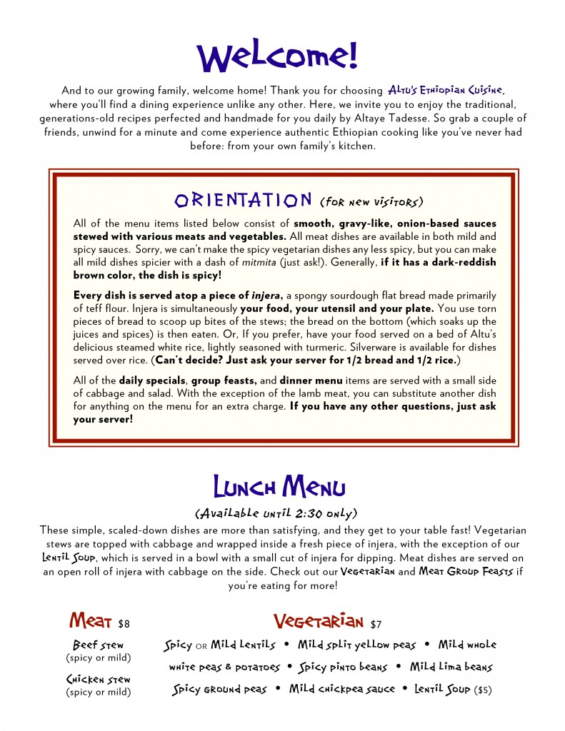 Altu's menu page 1 (back)