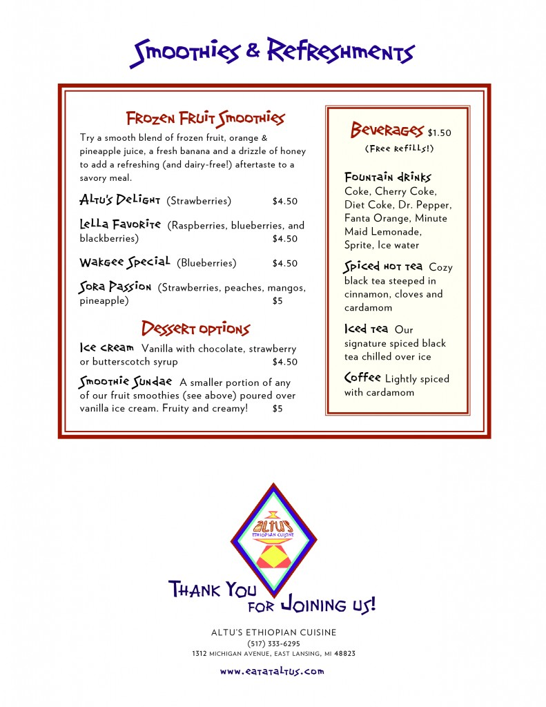 Altu's menu page 2 (back)