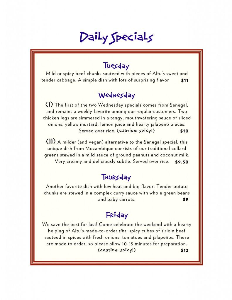 Altu's menu page 3 (back)